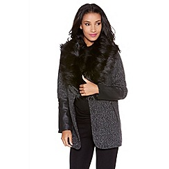 Quiz - Grey fur collar pu trim jacket