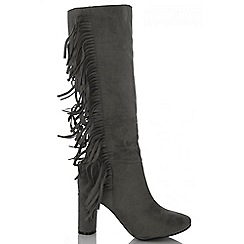 Quiz - Grey faux suede long fringe boots