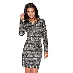 Quiz - Black and grey crepe speckle print dress