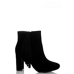 Quiz - Black Tassel Block Heel Ankle Boots