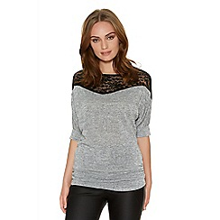 Quiz - Light grey knit ruched lace top