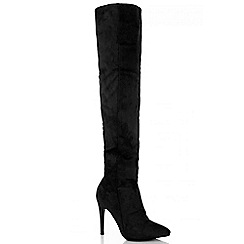 Quiz - Black Faux Suede Over The Knee Heel Boots