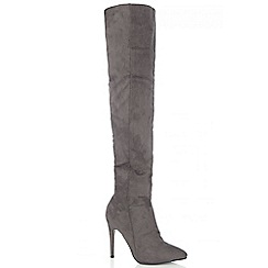Quiz - Grey Faux Suede Over The Knee Heel Boots
