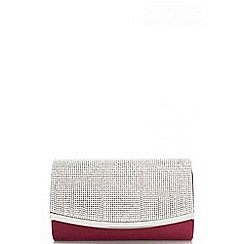 Quiz - Berry Small Diamante Satin Bag