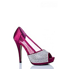 Quiz - Berry Diamante Mesh Platform Peep Toe Shoes