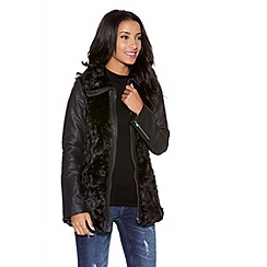 Quiz - Black Rose Faux Fur PU Sleeve Jacket