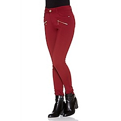 Quiz - Wine black stretch 2 zip diamanté trousers
