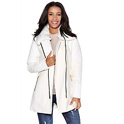 Quiz - White PU wool faux fur collar jacket