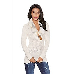 Quiz - Beige Knit Faux Fur Collar Jumper