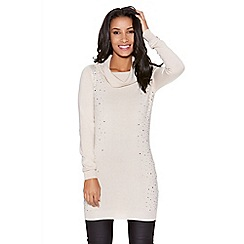 Quiz - Stone Light Knit Cowl Neck Diamante Side Jumper
