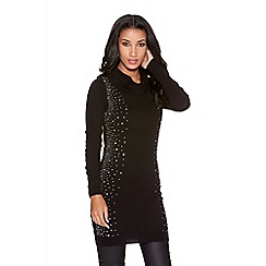 Quiz - Black Light Knit Cowl Neck Diamante Side Jumper