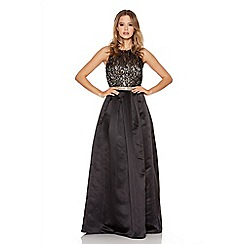 Quiz - Gold And Black Lace Diamante Sleeveless Maxi Dress