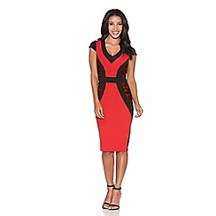 Quiz - Red and black lace side panel dress