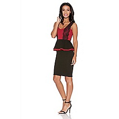 Quiz - Berry And Black Marcella Double Peplum Lace Dress