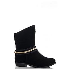 Quiz - Black faux suede ankle strap boots