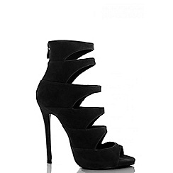 Quiz - Black faux suede cut out shoe boots
