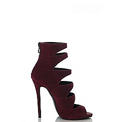 Quiz - Wine Faux Suede Cut Out Shoe Boots
