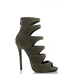 Quiz - Khaki Faux Suede Cut Out Shoe Boots