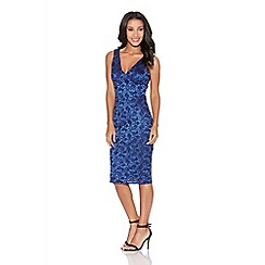 Quiz - Royal blue lace glitter midi bodycon dress