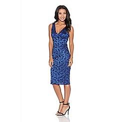 Quiz - Royal blue lace glitter midi bodycon dress