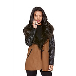 Quiz - Tan wool pu sleeve faux fur collar coat