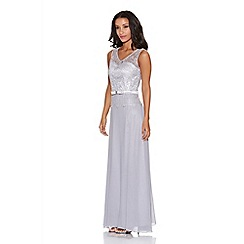 Quiz - Grey Sequin Crochet Bow Chiffon Maxi Dress