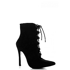 Quiz - Black Faux Suede Lace Up Point Shoe Boots