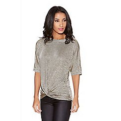 Quiz - Stone and gold glitter batwing top