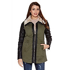 Quiz - Khaki and black pu zip front collar jacket