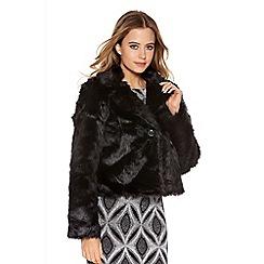 Quiz - Black faux fur short jacket