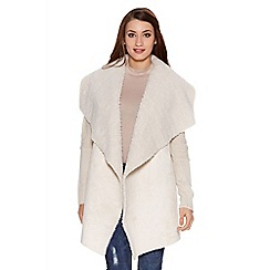 Quiz - Light cream faux fur suedette waterfall jacket