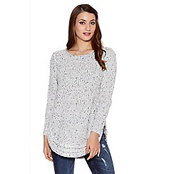 Quiz - White and black knit speckled jumper