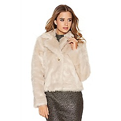 Quiz - Light stone faux fur short jacket
