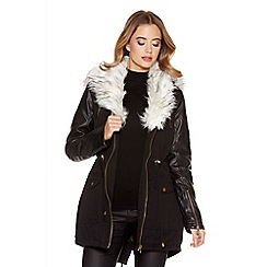 Quiz - Black And White Canvas Faux Fur Hood Jacket