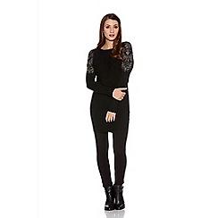Quiz - Black light knit diamante stud jumper dress