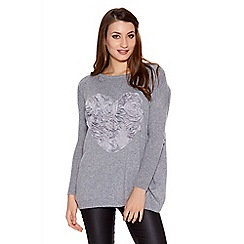 Quiz - Grey light knit rose heart jumper