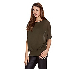 Quiz - Khaki knit pleated front bow back top