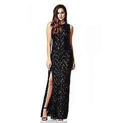 Quiz - Black Sequin Chevron Zig Zag Maxi Dress