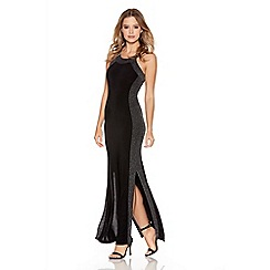 Quiz - Black And Silver Brillo Panel Side Split Maxi Dress