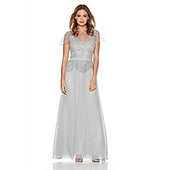 Quiz - Grey Embellished V Neck Cap Sleeve Dress