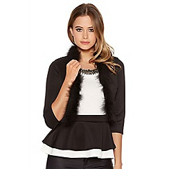 Quiz - Black Faux Fur Trim 3/4 Sleeve Crop Jacket