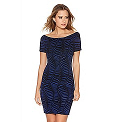 Quiz - Royal Blue Brillo Leaf Print Bardot Dress