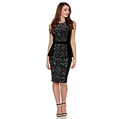 Quiz - Black And Grey Velvet Glitter Bow Peplum Dress