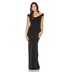 Quiz - Black Brillo Side Split Bardot Maxi Dress