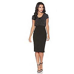 Quiz - Black Brillo Crossover Front Midi Dress