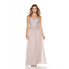 Quiz - Mocha Chiffon Lace Sweetheart Neck Maxi Dress