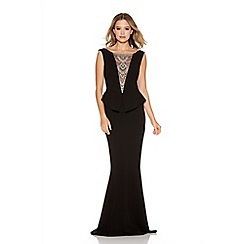 Quiz - Black Crepe Diamante Trim Fishtail Maxi Dress