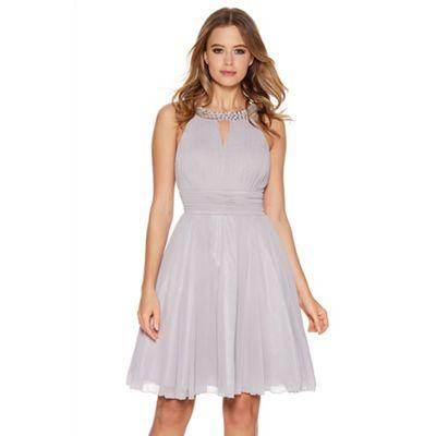 Quiz Light Grey Chiffon Diamante Neck Short Dress - . -