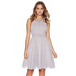 Quiz - Light Grey Chiffon Diamante Neck Short Dress