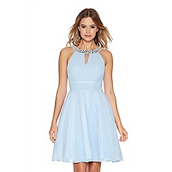 Quiz - Pale Blue Chiffon Diamante Neck Short Dress